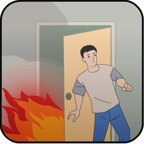 Một số cách cơ bản thoát nạn khỏi đám cháy là nếu thấy an toàn để thoát thân và có một cửa lớn đang đóng, trước khi thoát ra bằng lối đó phải kiểm tra độ nóng của cửa bằng cách đặt mu bàn tay lên cửa